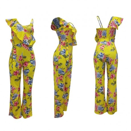 2020 Women Floral Jumpsuits Casual Siamese Speaker Pants With Belts 2 Colors Size S-2XL