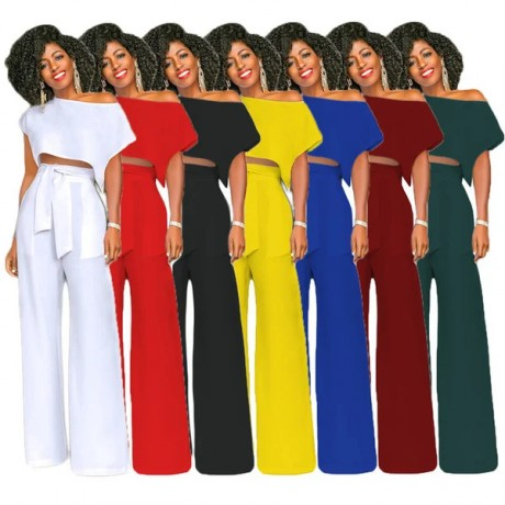 2020 New Fashion Africa Women Sets Solid Short Sleeve Tops + Wide Leg Pants 7 Colors Size S-XXL