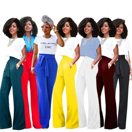 2020 New Fashion Africa Women Casual Speaker Wide Leg Trousers Without T Shirts 7 Colors Size S-XL