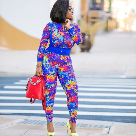 2020 New Fashion Africa Women Sets Floral Long Sleeve Tops + Long Pants Size S-XL
