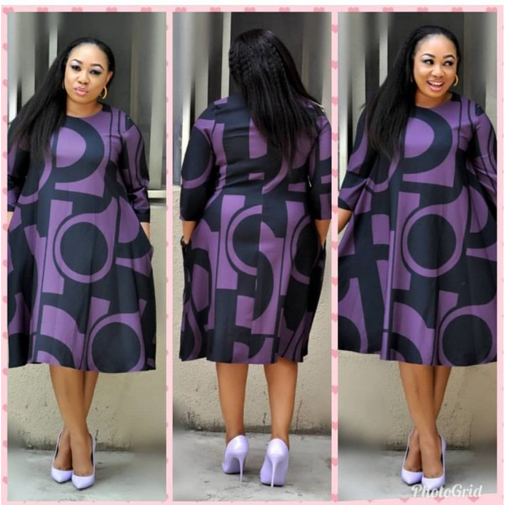 African Women's Dresses Digital Printed Round Neck Basic Type A Sleeve Dresses