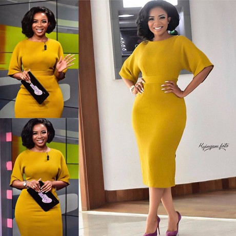 African Lady Yellow Temperament Slim Commute Dress