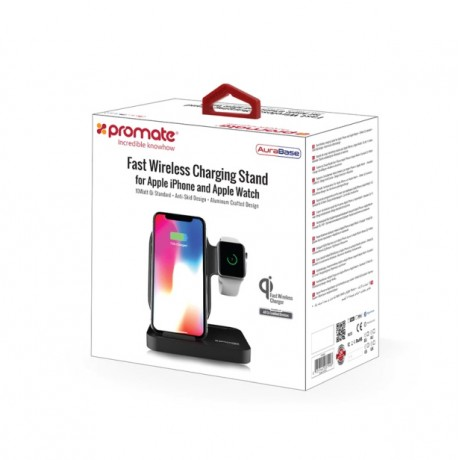 AuraBase Fast Wireless Charging Stand for Apple iPhone and Apple Watch