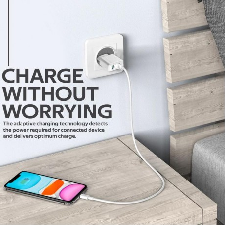 BiPlug | 12W Wall Charger with Dual USB Ports