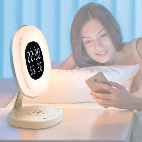 AuraRise | Digital Alarm Clock with 6 color LED and Wireless Charging Station