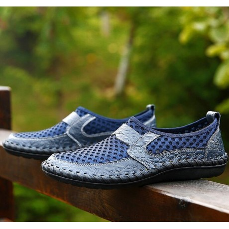 Big men shoes size39-49 Genuine leather men's shoe The summer net noodles with cow leather crocodile Hand-stitched men's loafers