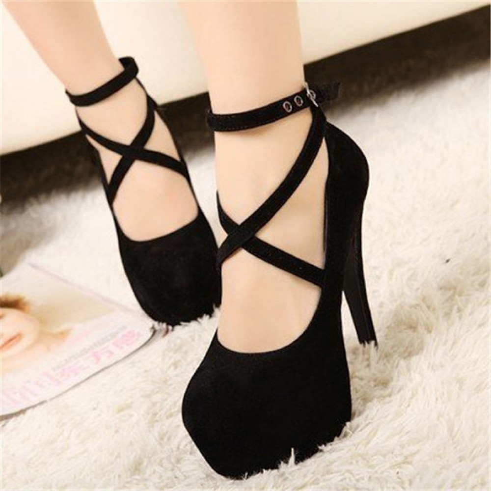 2017 new hot style of European and American fashion big yard thick with high heels