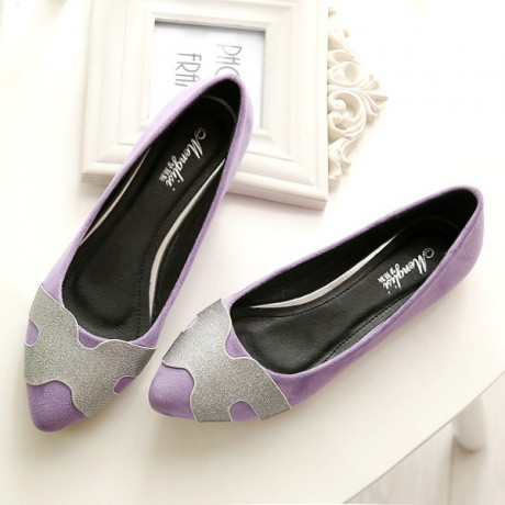 2020 New design high quality PU leather pink black purple color plus size women lady flats 33-43