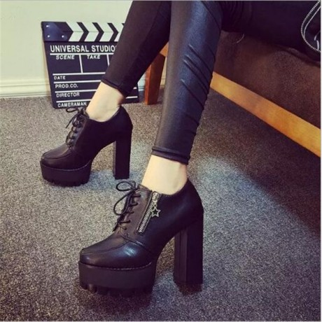 2017 New Arrival Spring Autumn Women High Heels Shoes PU Leather Martin Short Boots